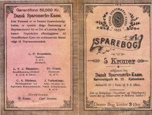 Sparebog på 5. kroner for småkårsfolk 1882.