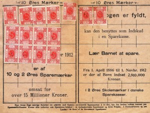 Sparemærker 15. stk. for småkårsfolk 10 øre i rød farve fra året 1886.