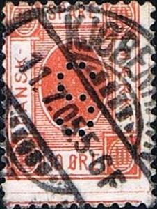 Det næste danske sparemærke i rækken for småkårsfolk 10 øre i rød farve fra året1886 for småkårsfolk. Bemærk at der står: DANSK SPARE MÆRKE i mærket og ikke DANSK SKOLE SPARE MÆRKE.Bemærk også at mærket er afstemplet i Kjøbenhavn med datoen 11.7.05. Mærket er brugt som frimærke på en brevforsendelse.