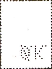 Kbh.2) Perfinbillede Ø 7.1 A/S Det Østasiatiske Kompagni. Kbh. Alm. Stempelmærke: Øreværdi: 50 øre Udgivelsesår: 1937 Katalog-henvisnings-nummer: 142 Ramme / Baggrundsfarve: Grøn. Kroneværdifarve: Sort. Baggrundsdesign: Lodret mønster bestående af prikker  Rhomber  og prikker i parenteser () Stilling: 7