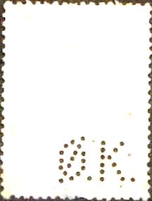 Kbh.2) Perfinbillede Ø 7.1 A/S Det Østasiatiske Kompagni. Kbh. Alm. Stempelmærke: Kroneværdi: 4 Kroner Udgivelsesår: 1937 Katalog-henvisnings-nummer: 151 Ramme / Baggrundsfarve: Blå. Kroneværdifarve: Sort. Baggrundsdesign: Lodret mønster bestående af prikker  Rhomber  og prikker i parenteser () Stilling: 1