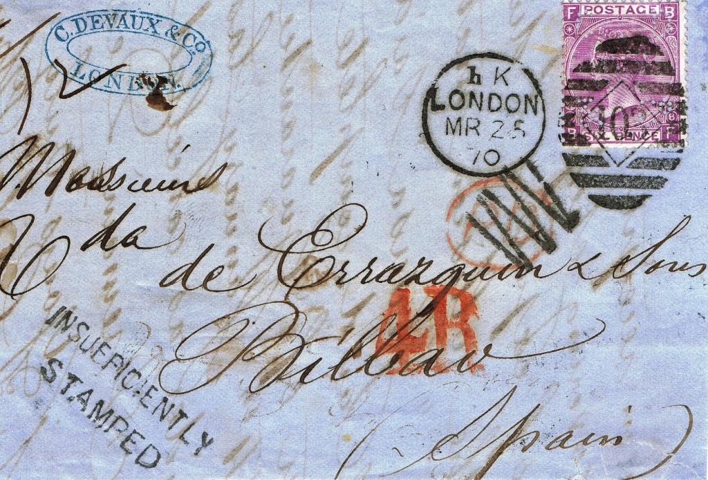 """Som overskriften fortæller:Et megettidligt perfinbrev (Brevforside) påsat 6d, Victoria lillaAfa-Nr. 25, 1865 perforeret med perfinbilledet """"C.D & Co.,"""" fra firmaet C. Devaux & Co., i London afsendt den 25. 3. 1870 til Bilbao, Spanien. Stemplet """"Insufficiently stamped"""" (Utilstrækkeligt frankeret). Historien omfirmaet C. Devaux & Co., i London følger. Hvis jeg ellers kan finde denne!"""